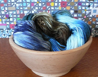 Tight Twist Hand Dyed Fingering Weight Superwash MCN Sock Yarn-Neptune 400 yards