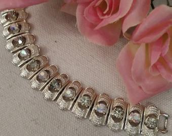 CORO Designer Bracelet, Light Gold Tone, Pale Yellow and AB Stones, FREE Shipping