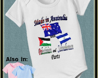 Made in Australia with Palestinian and El Salvador Parts country nationality flag one piece - flag shirt - nationality bodysuit proud to be