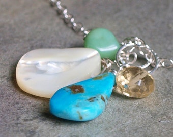 Turquoise and Citrine Charm Pendant #53