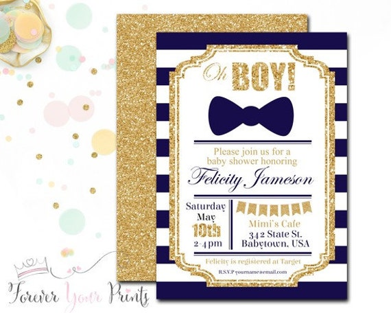 Navy and Gold Striped Baby Shower Invitation, Baby Shower Invitation Boy, Little Man, Modern Baby Shower, Printable Baby Shower, Bow Tie