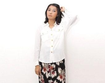 ON SALE ON Sale/Vintage 90s Shirt/90s White Shirt/Betty Barclay Viscose White Long Sleeve Shirt, Gold Details, Medium