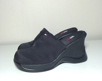 90s platform Tommy Hilfiger sporty slip on mule wedge shoes size 8