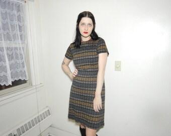 Vtg 50s 60s mod geometric earth tone textile short sleeve dress size small medium