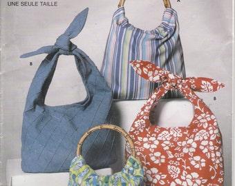 Totebag Pattern Purse Handbag Tie Handle Wooden Handle Uncut Simplicity 5151