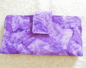 Fabric Wallet - Purple Batik