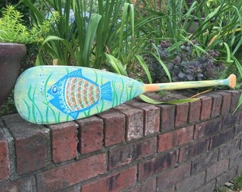 Oar Paddle Art Sign ONE Hand Painted Fish Tropical Beach House Lake Cottage Decor By CastawaysHall