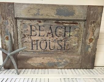 Beach House Sign Coastal Style Decor Wall Art by CastawaysHall - Ready to Ship
