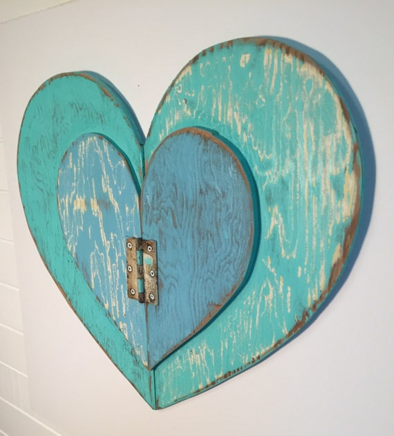 Large Heart Wall Decor : Heart large weathered wood wall art seafoam blue rustic beach
