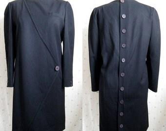 Clearance Vintage 1980s Dress- KRIZIA Black Wool Shift Designer Dress Medium