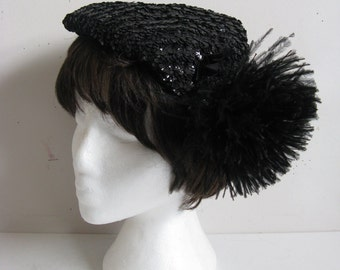 Vintage 1970s Fascinator Black Sequin Velvet Bow Feather Mary Lorene Milinery Hat