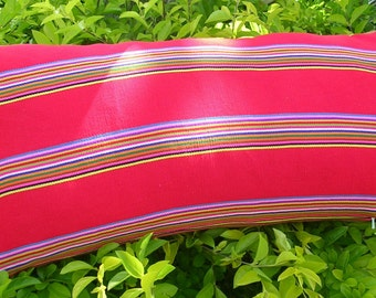 Lumbar  Fiesta Pillow Cover, 14 x 28 inches,  red accented with multi-color stripe, cotton