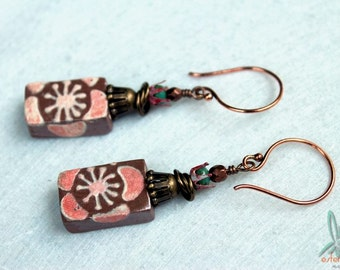 Cookies and cream - short, unique, artisan earrings with handmade ceramic charms in caramel and soft pink