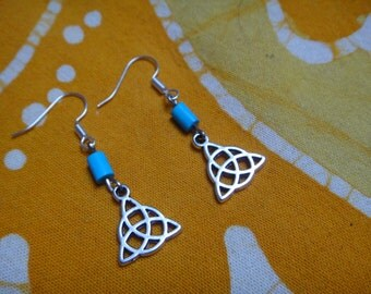 Eternal Knot Charm Turquoise Beaded Earrings Zen Jewelry Geometric Traingle