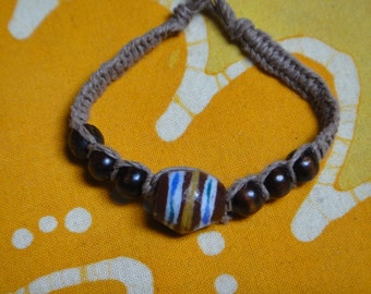 African Recycled Glass and  Wood Bead Hemp Bracelet / Anklet