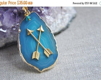 SALE Agate Necklace, Agate Slice Necklace, Teal Agate Necklace, Blue Agate Necklace, Arrow Necklace, Boho Bohemian Necklace, Long Necklace,
