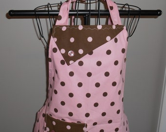 Pink and Brown Polka Dot Women's Apron