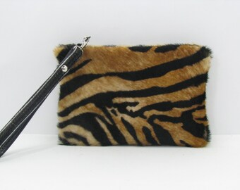 Leather Clutch Bag / Wristlet / Cosmetic Bag / Hand Bag Cowhide Leather