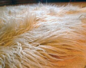 """Vintage Flokati Wool Shag Rugs ... White Floor Covering, Greece, Faux Fur, Pair, 74"""" x 80"""", MCM, Mid Century Throw, Bedcover, Blanket"""