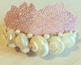 Mermaid Crown + Coral Sea Fan + Seashell Headpiece + Beach Wedding + Bridal Party Tiara + Flower Girl Hair + Mother of Pearl Shell Headband