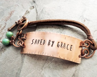 Saved by Grace Bracelet - Contemporary Christian Jewelry - Bible Verse Jewelry - Ephesians 2:8 - Scripture Jewelry - Inspirational Gift