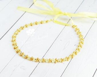 Yellow Bridesmaid Headband - Yellow Crystal Pearl Headband - Beaded Headband - Wedding Hair Piece - Minimalist - Simple