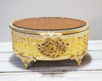Beveled Amber Glass Jewelry Box