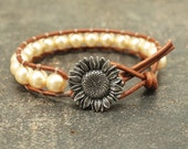 Pale Gold Sunflower Bracelet Pearl and Leather Wrap Bracelet Golden Yellow Sunflower Jewelry