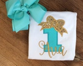 Gold mint sequin bow Personalized Boutique Number Birthday Boutique First 1st 2T 3 4 5 6 8 Girls Applique Short Long Sleeve Shirt Tank Top