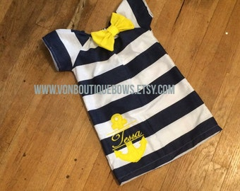 Navy White Stripe Yellow Anchor Short Sleeve Dress Embroidery Newborn 0-3 3-6 6-9 9-12 Month 12 Month 18 Month 2T 3T 4T 5T 6 Nautical