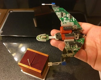 HMS Bounty Klingon Bird of Prey from Upcycled Computer Parts