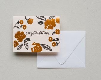 Letterpress Card- Congratulations Floral Foil
