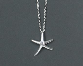 Sterling Silver Starfish Necklace, Nautical Jewelry, Beach Jewelry, Birthday Gift, Bridesmaid Gift, Kids Jewelry, Children's Jewelry