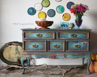 Gorgeous Teal Rustic Hand Painted Boho Table / Storage Chest