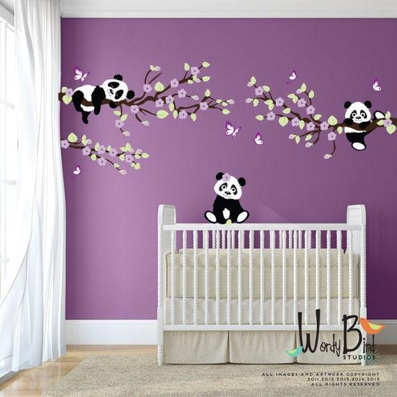 panda stickers muraux stickers muraux arbre avec des. Black Bedroom Furniture Sets. Home Design Ideas