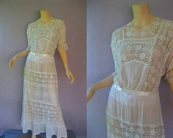 Edwardian Dress - Antique White Lace Dress - 1900s Tea Gown - Plus Size