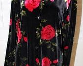 Vintage Black Velvet Rose Print 90's Shirt  M