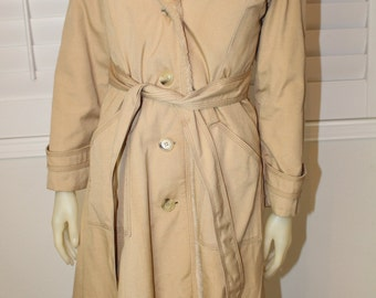 Vintage Camel Winter Trench Coat w/ Faux Fur Lining  M