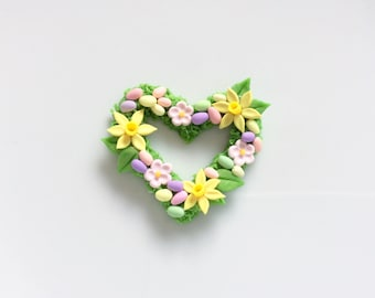 Miniature heart wreath with Spring flowers and mini Easter eggs for 1:12 scale dollhouse handmade from polymer clay