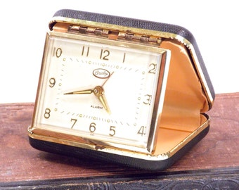 Bradley Luminous Travel Alarm Clock, Vintage 1960s Wind Up Clock, Made in Japan, Black leather Case, Portable Timepiece