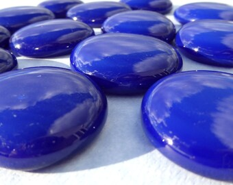 Cobalt Blue Extra Large Glass Gems - 10 Mosaic Tiles - Deep Blue Vase Fillers