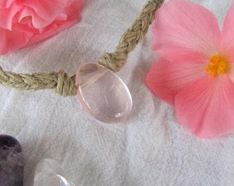 Scarlett's Rose Quartz Hemp Necklace