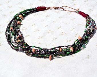 Necklace. Multi Strand Seed Bead Necklace. Green Purple Pink Assorted Beads Necklace. Handmade Beaded Necklace. Made in Israel Free Shipping