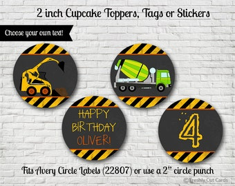 "Construction Zone Printable 2"" Cupcake or Treat Toppers"
