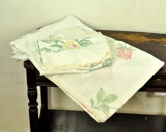 Vintage Full Sheet Set Remixed Linens Flat Sheet & 3 Pastel Pink White Trim Jessica McClintock Wamsutta Floral Cases Bedding Shabby Cottage