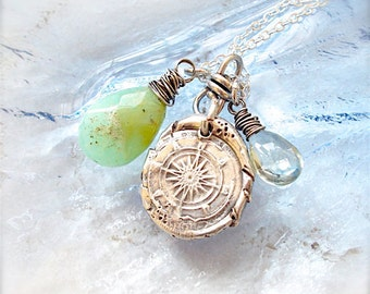 LOST at SEA Wax Seal Compass  Necklace - Sterling Talisman - Green Gemstones   Good Luck . Amulet for Travel