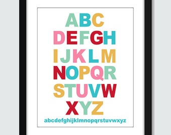 Alphabet Wall Art. Alphabet Wall Print. ABC Wall Art. ABC Wall Print. 8x10 Children Nursery Wall Print Poster