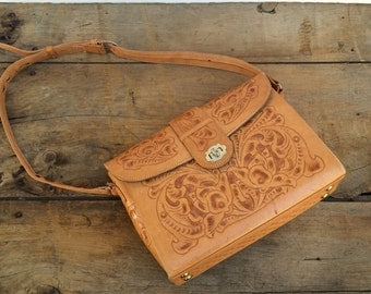 Tooled Leather Handbag Saddlebag Satchel Honey Brown