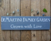 Personalized Garden Sign - Family Garden Sign - Rustic Wood Sign - Grown with Love