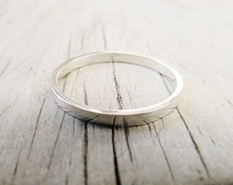 thin silver ring wedding band stacking ring dainty ring small ring narrow ring polished ring